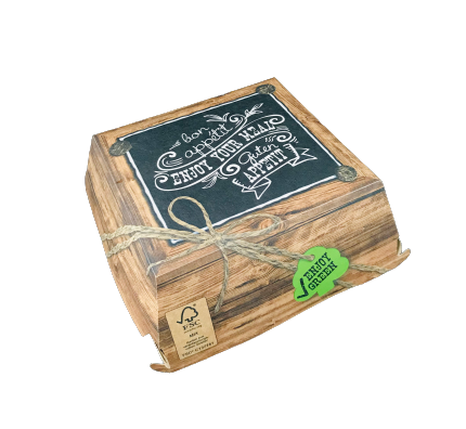 Burgerbox 'Enjoy your Meal' 13,5x12,5x7,5 cm kompostierbar 400 St.