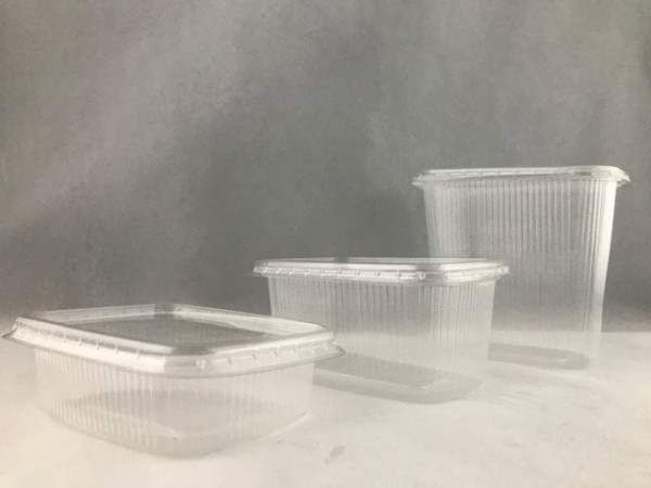 Verpackungsbecher mit Deckel eckig transparent