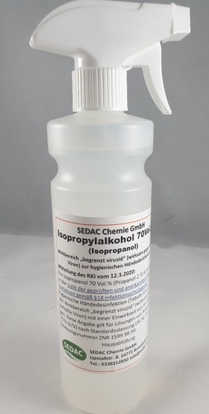 ISOPROPYLALKOHOL 70Vol% 0,5 l inkl Sprayer