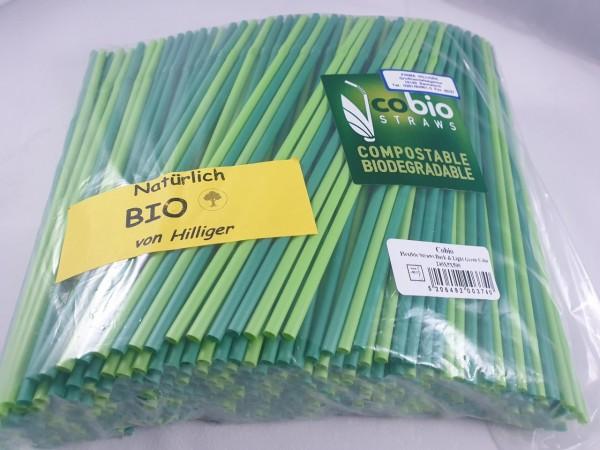 BIO Strohhalm Trinkhalm grün flexibel