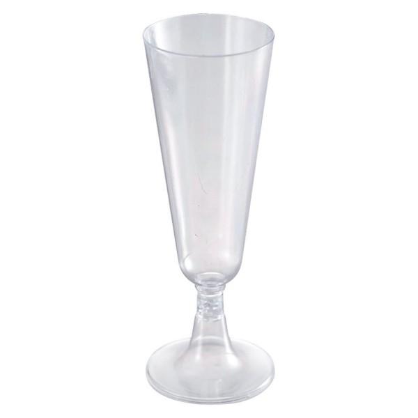 Sektglas Einweg klar mit Stiel 100ml VE 6 St