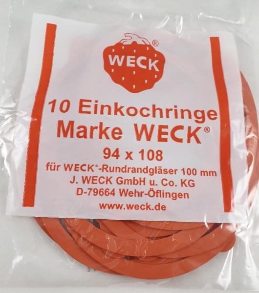 Einkochring für 100mm RR Gummiring 94x108mm für WECK Glas 10 St.