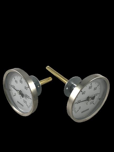 Räucherofen Thermometer mit Flansch 0-120°C Türeinbau Bitherma