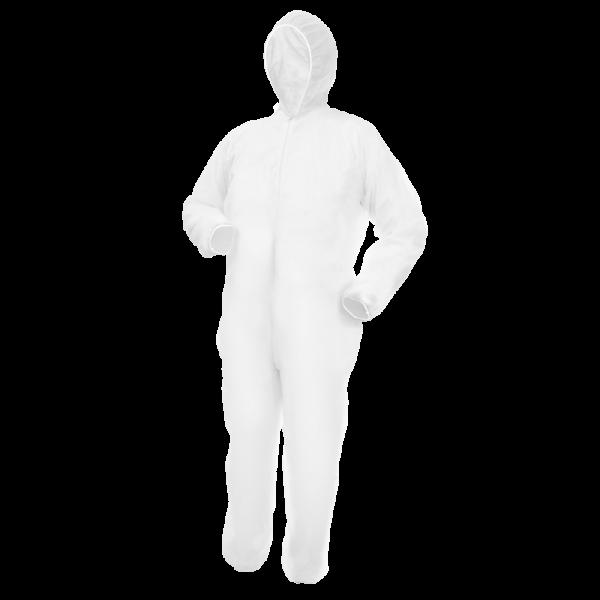 Einweg Overall MaiMed Weiß Vliesqualität mit Kapuze+Reißverschluss Größe XXL