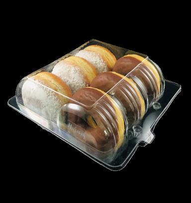 Verpackung klar für Donuts, Berliner Klappbox für 6 Stück
